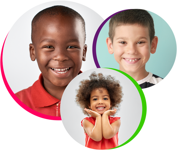 three circle portraits of smiling children