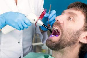 patient getting dental bonding